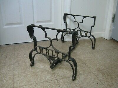 """Antique White USA Industrial Cast Iron Rolling Coffee Side Table Legs Base 15"""""""
