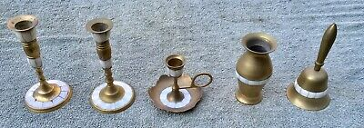 Brass Mother Of Pearl Trim Candle Holders Bell and Vase 5 Piece Lot