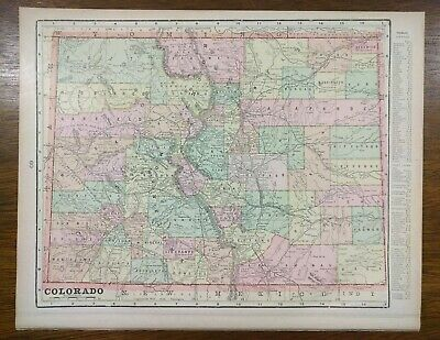 "Vintage 1900 COLORADO Atlas Map 14""x11"" Old Antique BOULDER DENVER GOLDEN PUEBLO"