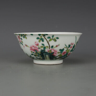 Chinese old antique Porcelain Yongzheng marked famille rose flower bird bowl