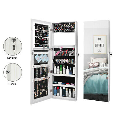 Lockable Door Wall Hang Mounted Mirrored Jewelry Cabinet Organizer Armoire Box
