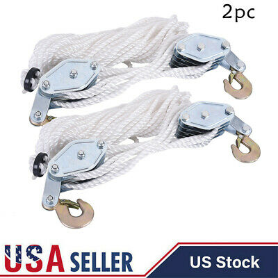 LOT 2 4000LB 2 Ton 65FT Poly Rope Hoist Pulley Block & Tackle Rope 7:1 Lifting