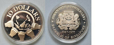 1977 Singapore Large silver Proof Hands/World Map