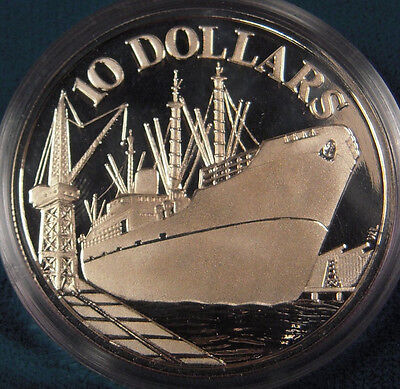 1975 Singapore Large silver Proof Ship