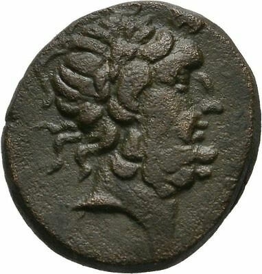 Ancient Greece 2-1 Cent BC PHRYGIA ABBAITIS ZEUS THUNDERBOLT WREATH