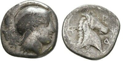 Ancient Greece 5-4 Cent BC THESSALY PHARSALOS Silver Hemidrachm ATHENA Horse