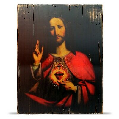 "Sacred Heart of Jesus Wood Icon Vintage Style 11.2"" x 14.6"""