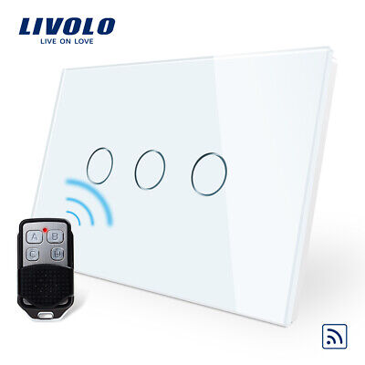 Livolo Electrical Home Use Wall 3Gang 1Way Remote Touch Led Light Switch