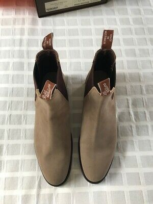 RM Williams Ladies Adelaide Suede boots, Stone Size 8 Med, Rubber sole. BNIB