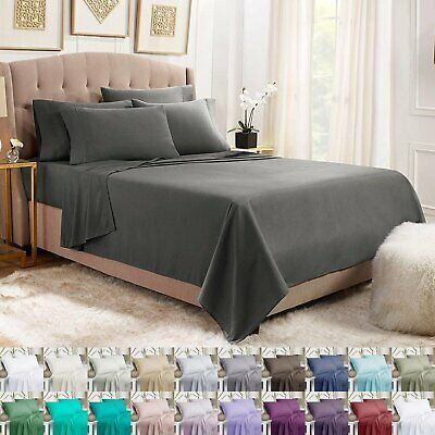 1800TC Single/Double/Queen/King 4 Piece Bed Sheet Set,Flat,Fitted,Pillowcases