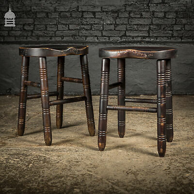 Pair of Small Vintage Black Pub Bar Stools with Turned Legs
