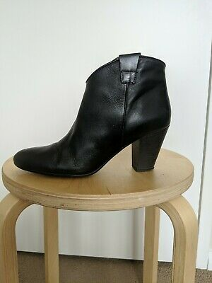 Oasis Black Western Ankle Boots Leather Size 40 (UK 7)