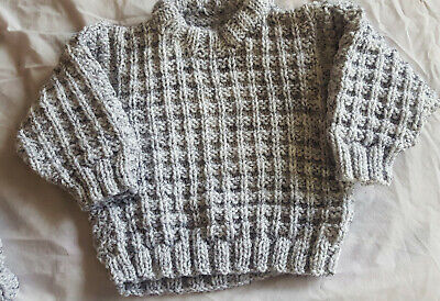 Hand knitted pale silver grey jumper and hat set age approx 4 yrs