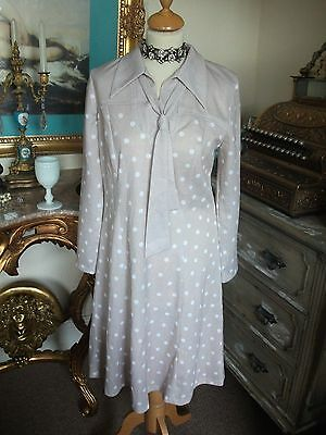 Ladies Vintage Beige Polka dot Mod Dress