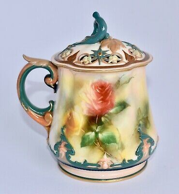 Antique Hadley's Royal Worcester Hand Painted HADLEY'S ROSES Large Potpourri Cup