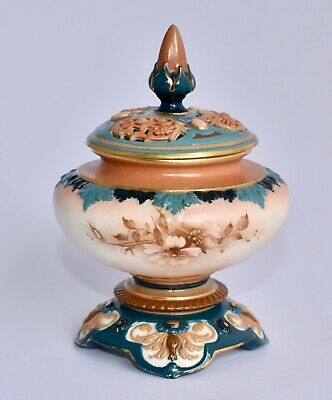 Antique Hadley's Royal Worcester Hand Painted Pot Pourri Covered Vase