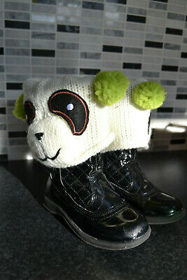 Claires Knitted Teddy Girls Boot Sock Boots Wellies Topper Toppers Cuffs Cover