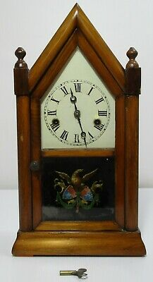 Antique Sharp Gothic Steeple Time Piece by Jerome & Co of New Haven USA Clock