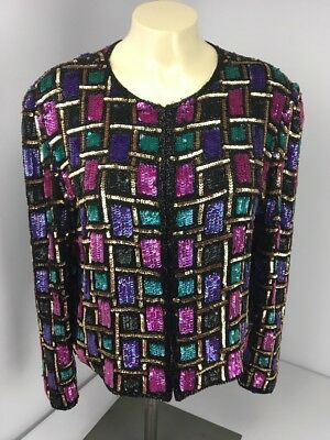 PAPELL BOUTIQUE EVENING BEADED SEQUIN SILK CRUISE Bright JACKET SZ 8 Gold Pink