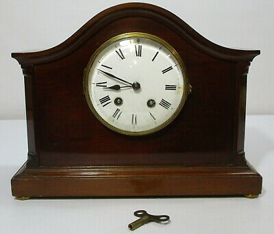 Vintage Japy Freres Movement Chiming Wooden Case Mantle Clock Made in France