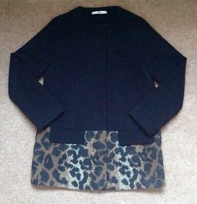 M&S Girls Black & Leopard Print Wool Coat Age 11-12 Immaculate Condition