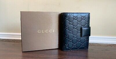 Authentic Gucci GG Embossed Black Leather Notepad Agenda Cover Clutch 115240