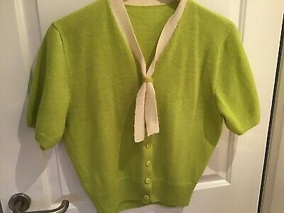 Vintage Lime Green & Cream Fine Wool Knit Cardigan/Shrug Size 12