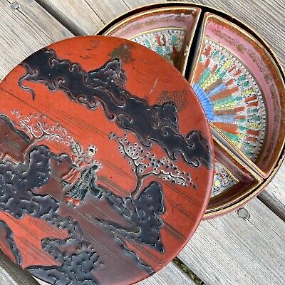 Antique Chinese Wood Red Lacquer Round Box Porcelain Bowl Dish Set Japan Asian