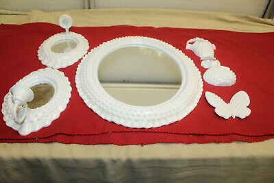 6 piece Burwood Set White Hobnail Milk GlassLook Oval Mirrors Candle Holders etc