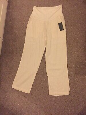 Blooming Marvellous Maternity White Linen Trousers 12R BNWT