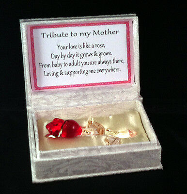 Red Rose Crystal Glass  tribute to my Mother poem Unusual  personalised words
