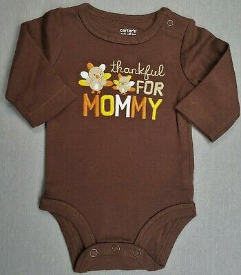 NEW Newborn, 3m Carters Thanksgiving Thankful for Family Infant Girls Bodysuit