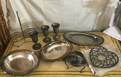 Mixed Lot Silver Plated Dinnerware for Use or Scrap Grand Silver Co. WM Rogers +