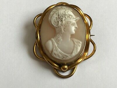 Antique Victorian 1890's gilt metal classical figure cameo brooch pin. 1 7/8""