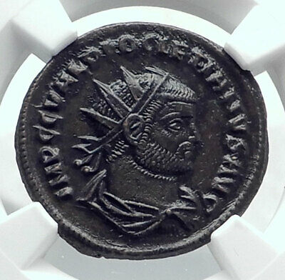 DIOCLETIAN Original Ancient Genuine 293AD Antioch Roman Coin JUPITER NGC i81613