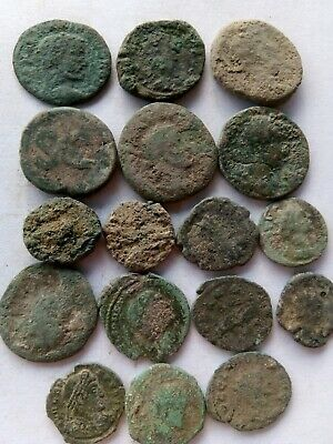 007.Lot of 17 Ancient Roman Bronze Coins,Uncleaned