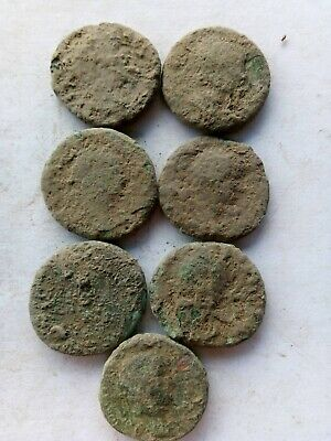 011.Lot of 7 Ancient Roman Big Bronze Coins,Uncleaned