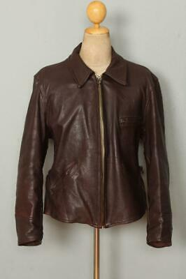 Vtg 1940s HERCULES Sears GOATSKIN Leather Half Belt Sports Jacket Large