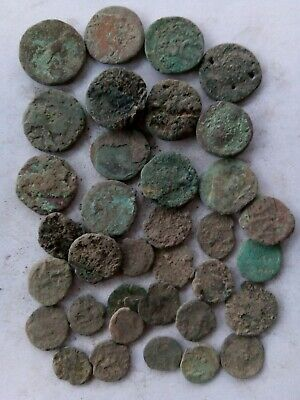 022.Lot of 35 Ancient Roman Bronze Coins,13X Big + Roman,Uncleaned