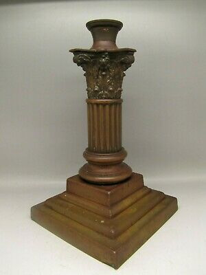 Antique Hinks Corinthian Column Brass Oil Lamp Base Bronze Victorian Pillar Old