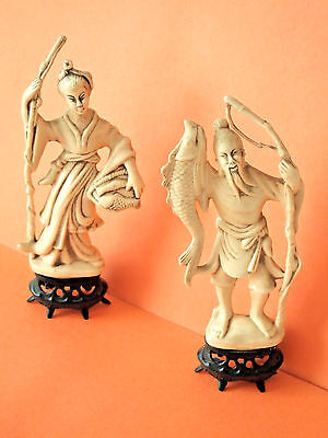 Vintage Resin Ivory Color Figurines,  Asian Woman and Man Carrying Fish, made in