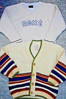 boys NEXT 2 pairs jumpers sweater cardigan age 3-4 years
