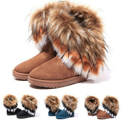 Womens Ladies Flat Faux Fur Lining Winter Bow Ankle Boots Low Heel Shoes Sizes