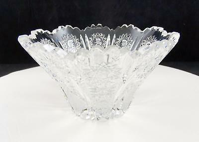 """Queen Lace Variant Bohemian Czech Cut Lead Crystal Scalloped 6 1/8"""" Flared Vase"""