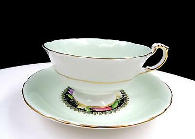 """Paragon Double Warrant #A1721/9 Mint Green Sweet Pea Floral 2 1/8"""" Cup & Saucer"""