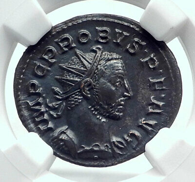 PROBUS Authentic Ancient 277AD Lugdunum Roman Coin LAETITIA NGC Certified i81621
