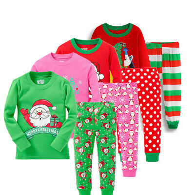Children Kids Girls/Boys Christmas Long Sleeve Sleepwear Pajama Set Outfits Xmas
