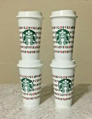 Starbucks 2019 Holiday Reusable Hot Cups 16 oz Merry Coffee Plastic Cup and Lids