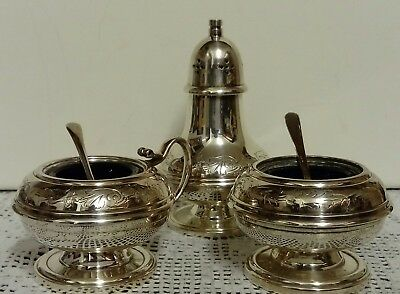 Vintage 5 PCE Silver Plated Cruet Set, Hand Chased Design Salt, Pepper & Mustard