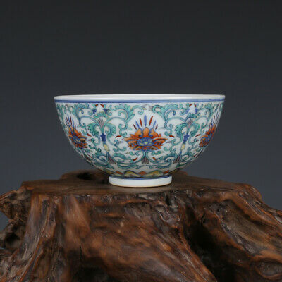 Fine Chinese old antique Porcelain Qing Yongzheng marked doucai flower bowl